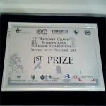 La targa consegnata ai vincitori del 3° Concorso Corale Internazionale Antonio Guanti